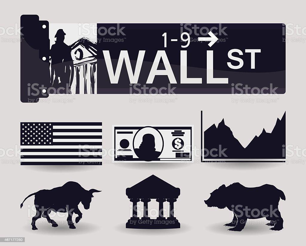 Wall street design, vector illustration. vector art illustration