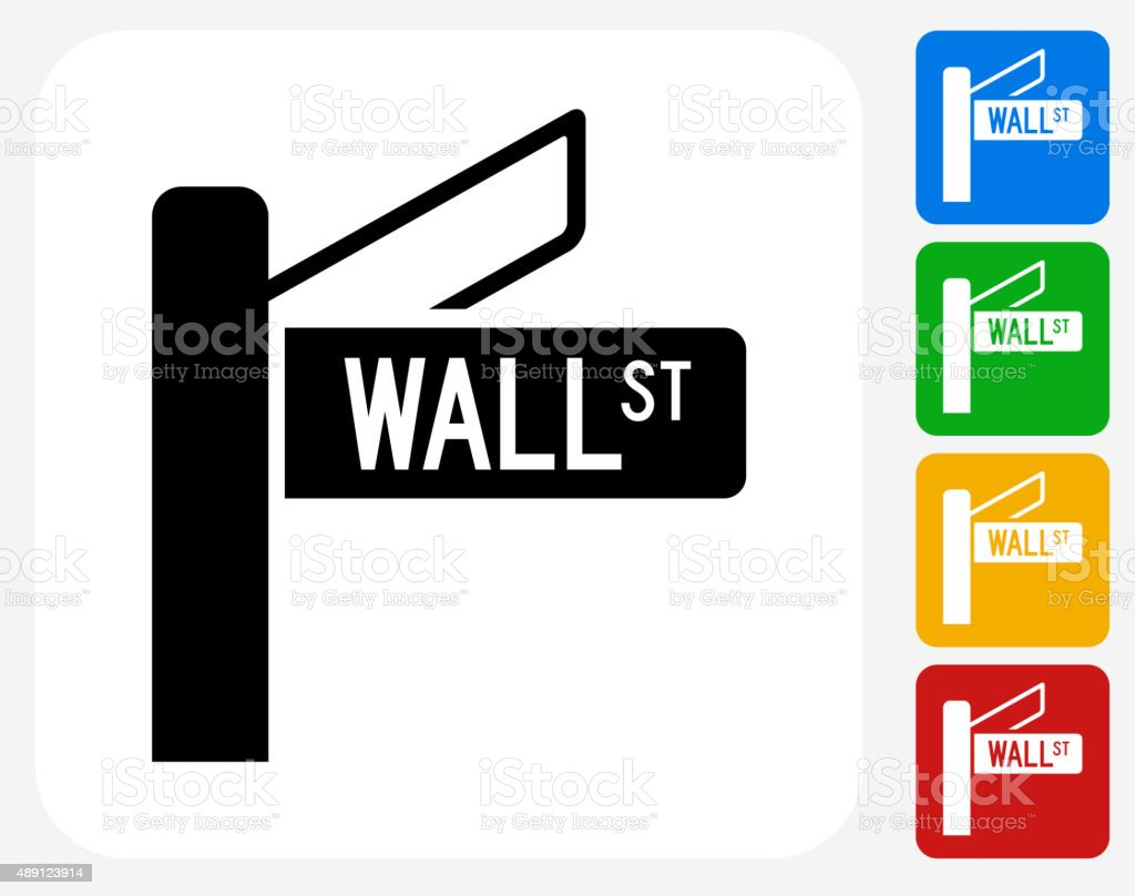 Wall Street Icon Flat Graphic Design vector art illustration