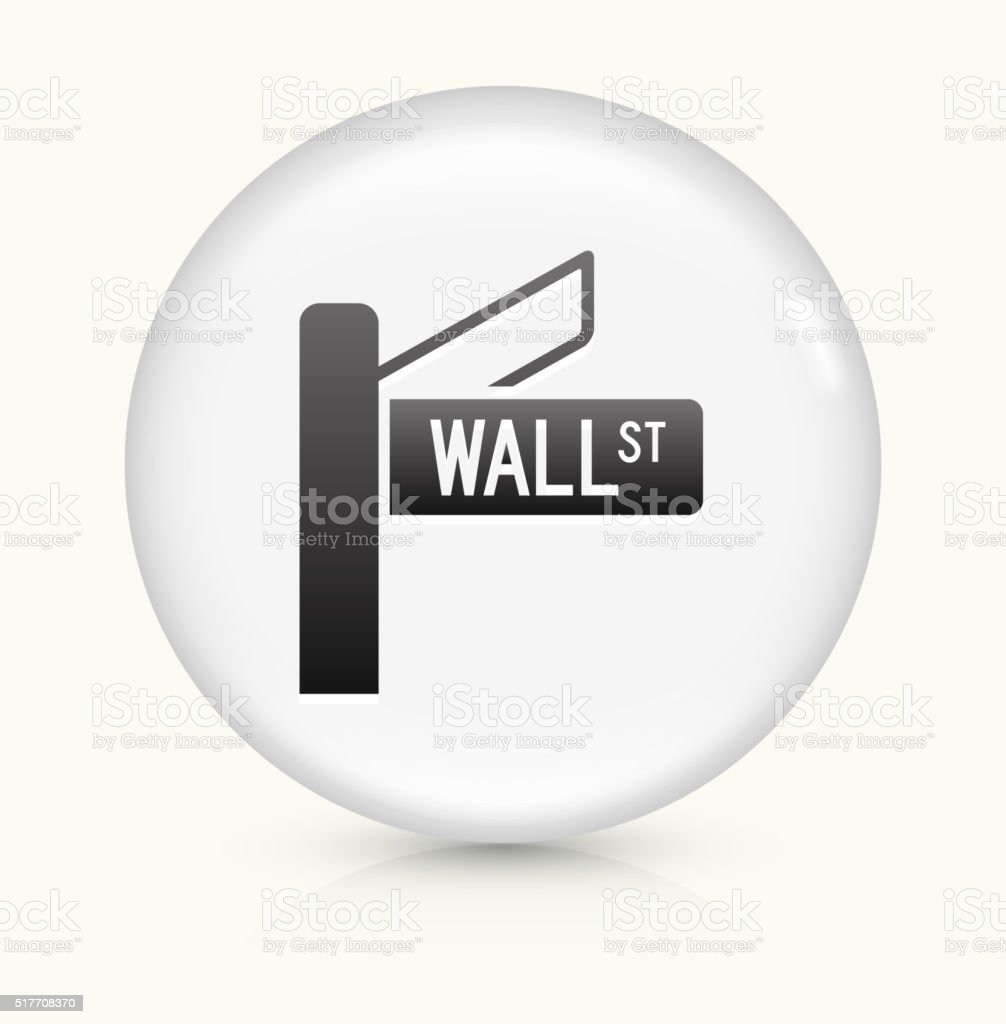 Wall Street icon on white round vector button vector art illustration