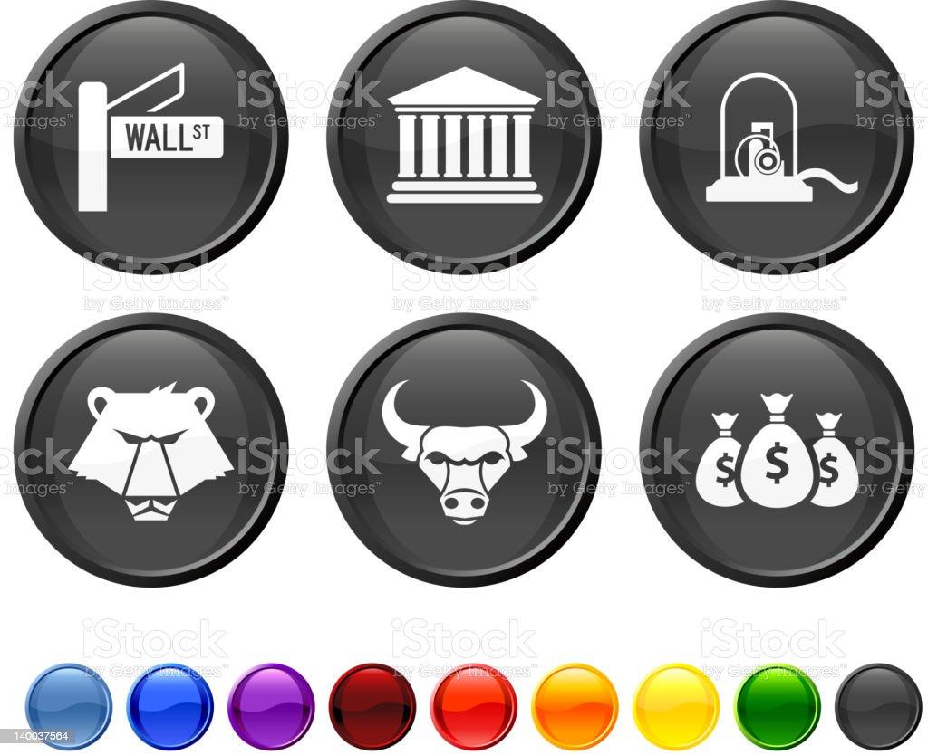 wall street royalty free vector icon set vector art illustration