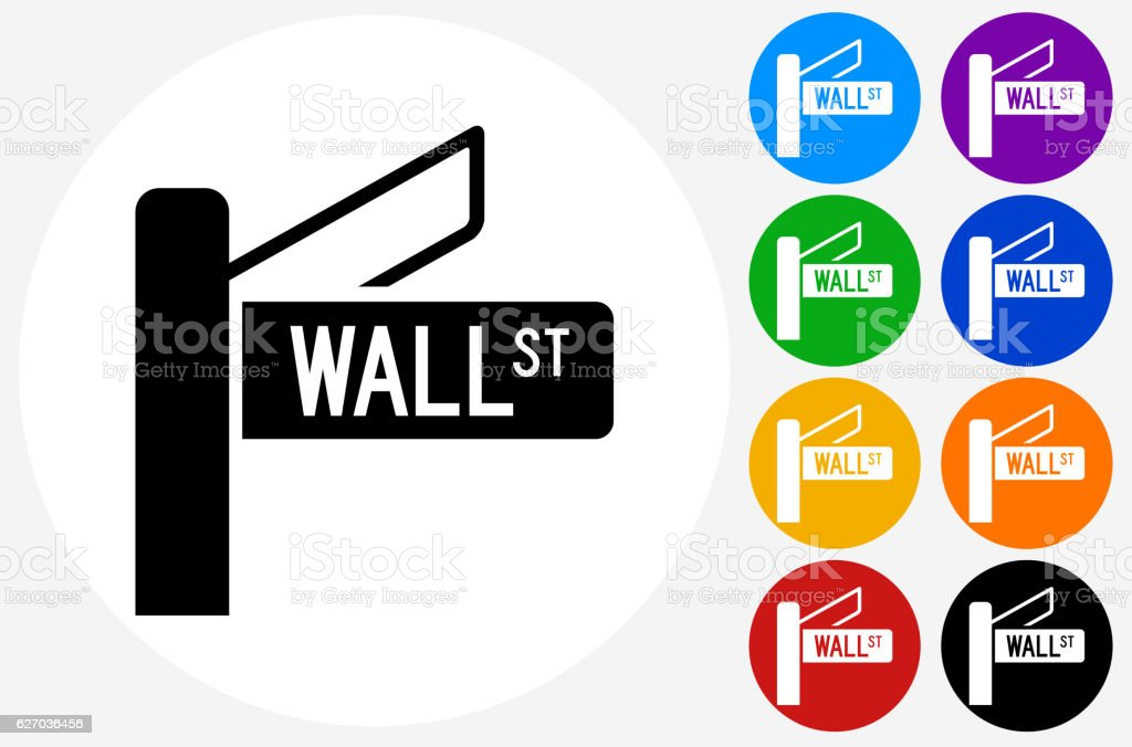 Wall Street Sign Icon on Flat Color Circle Buttons vector art illustration