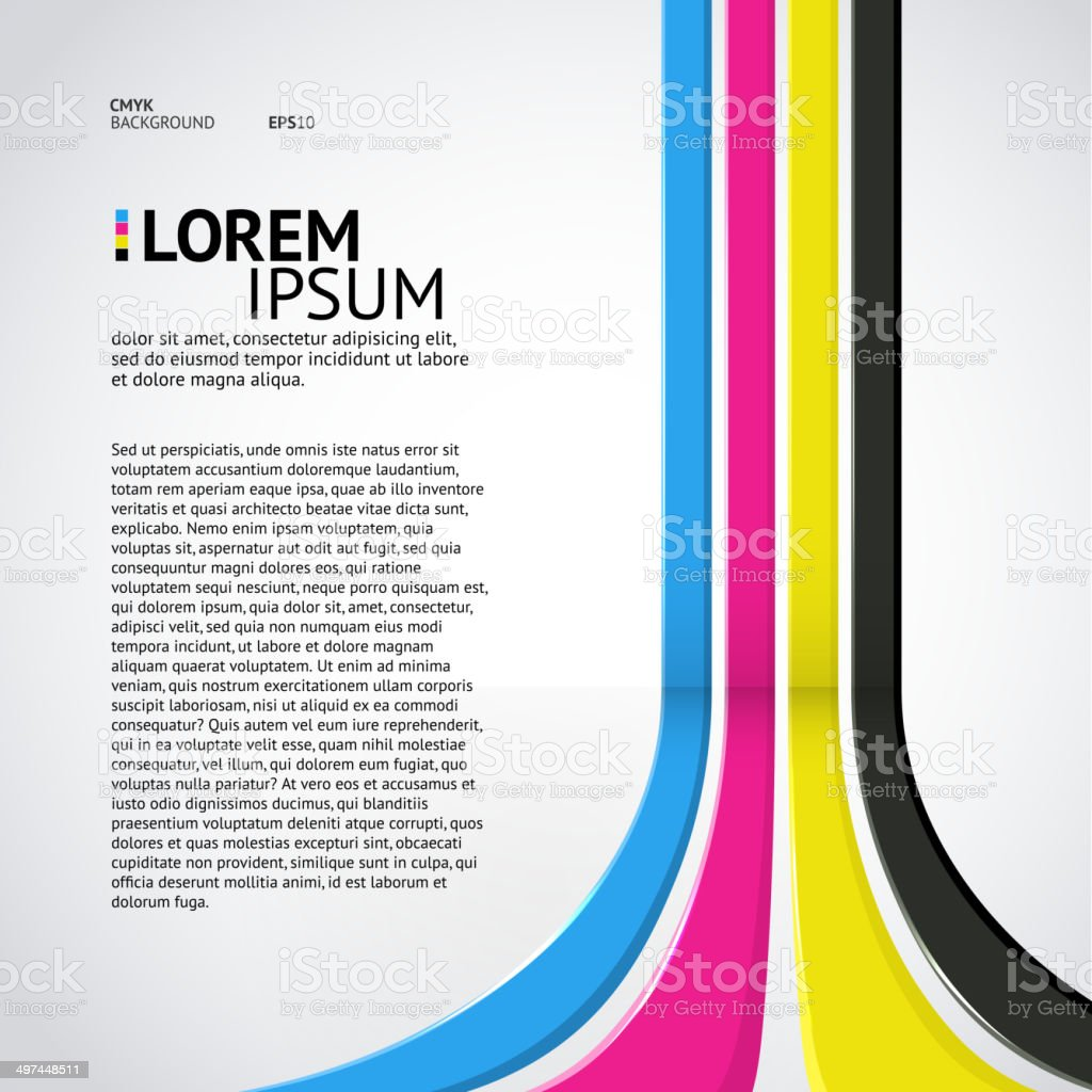 Wall with CMYK colored lines (place for your text) vector art illustration