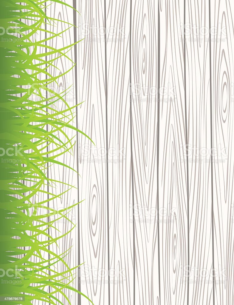 Wall with grass vector art illustration