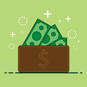 Wallet and Money icon symbol, Vector illustration,
