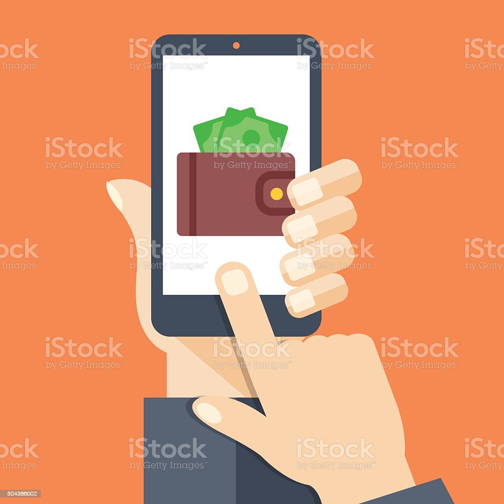 Wallet app page on smartphone screen vector art illustration