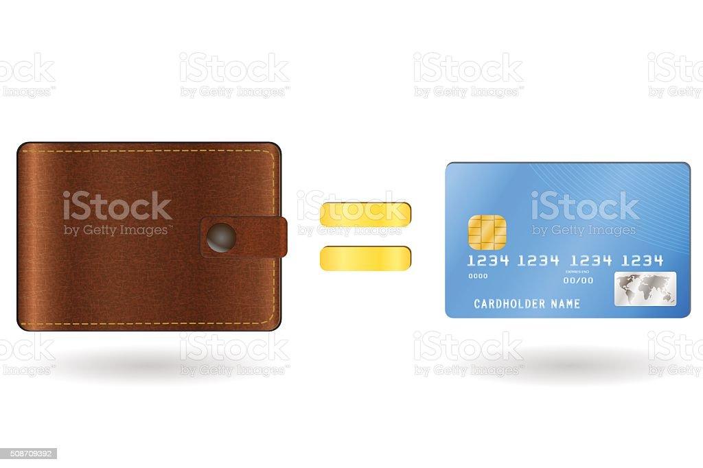 Wallet equal to a credit card vector art illustration