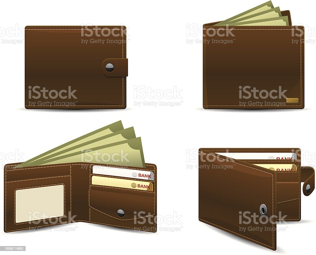 Wallet icons | Classic series vector art illustration