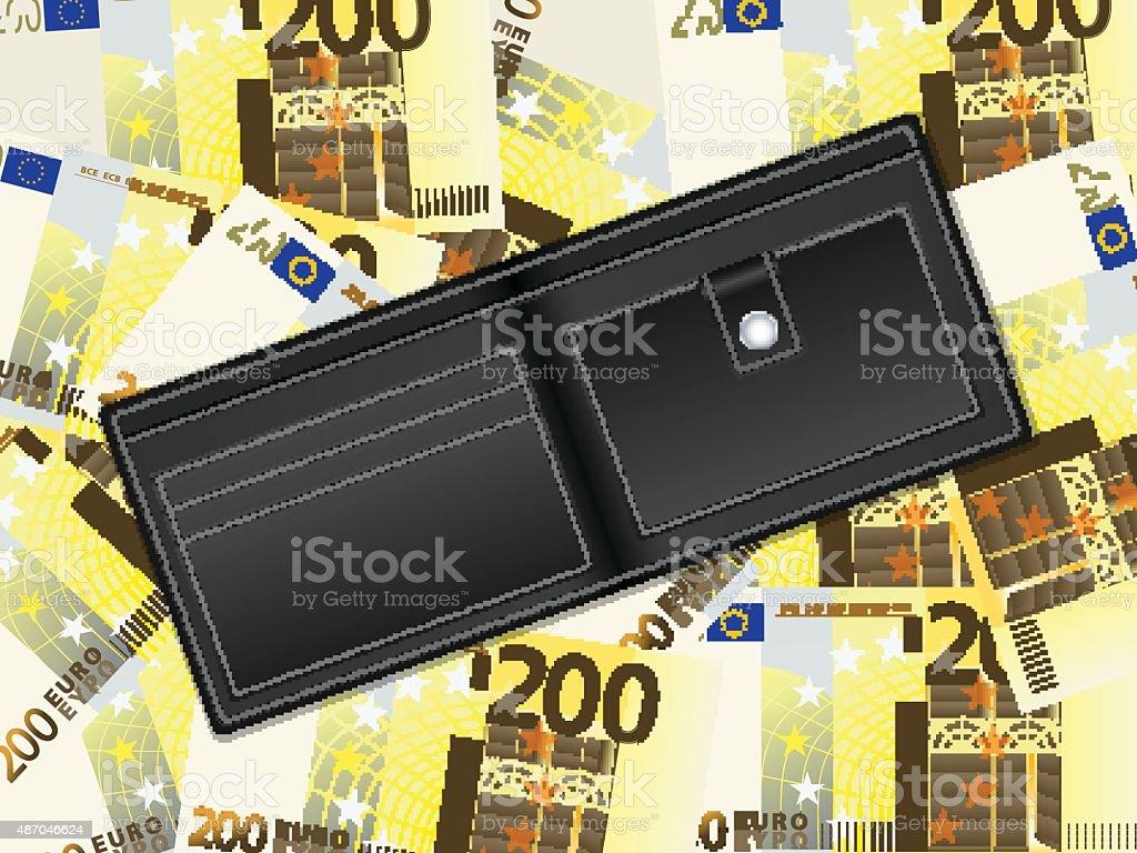 wallet on two hundred euro background vector art illustration