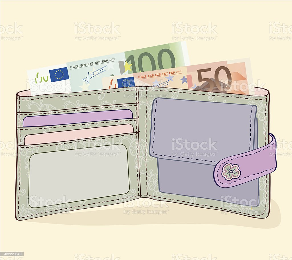 Wallet with 50 and 100 Euro bills vector art illustration