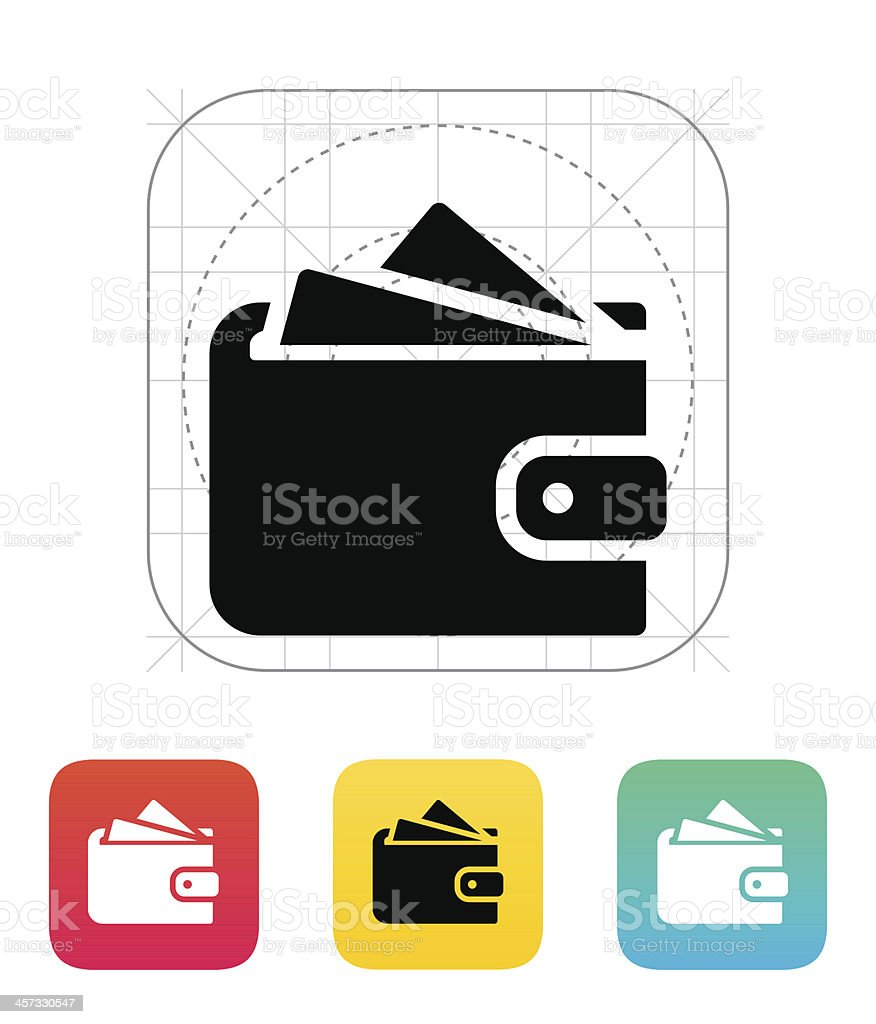 Wallet with cards icon vector art illustration