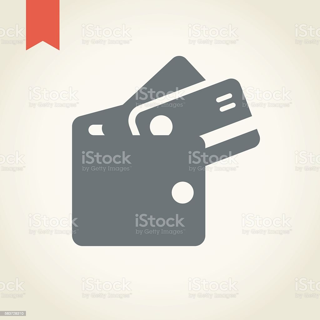 wallet with credit card icon vector art illustration