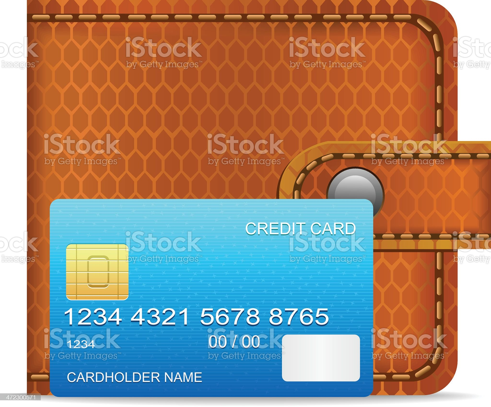 Wallet with Credit Card royalty-free stock vector art