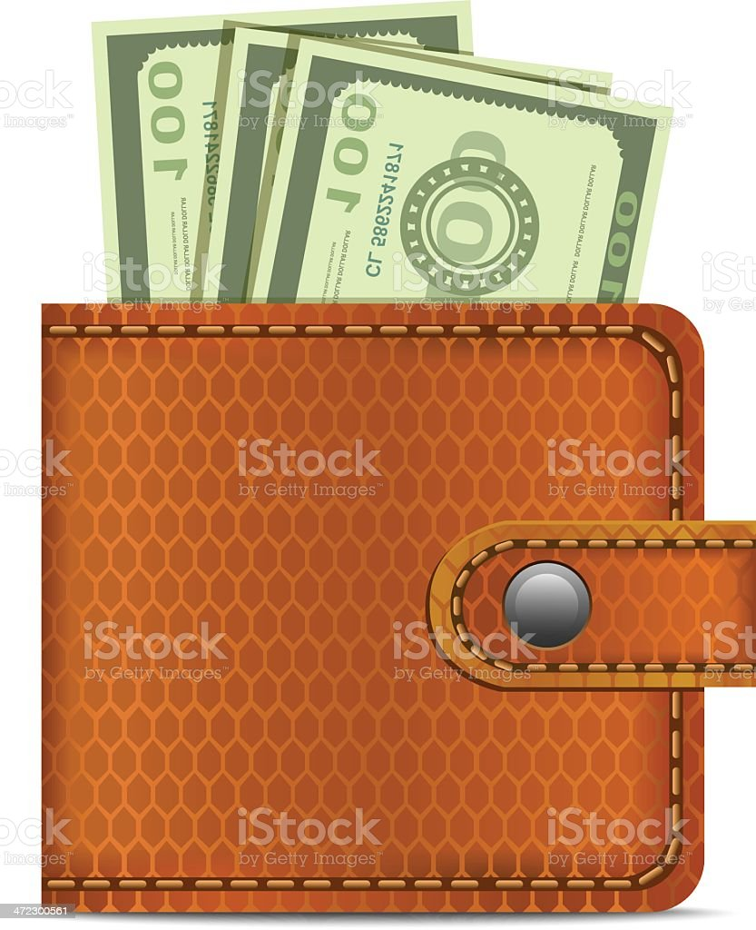 Wallet with Dollars royalty-free stock vector art