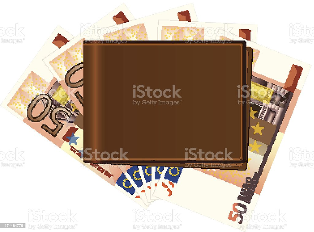 wallet with fifty euro banknotes royalty-free stock vector art