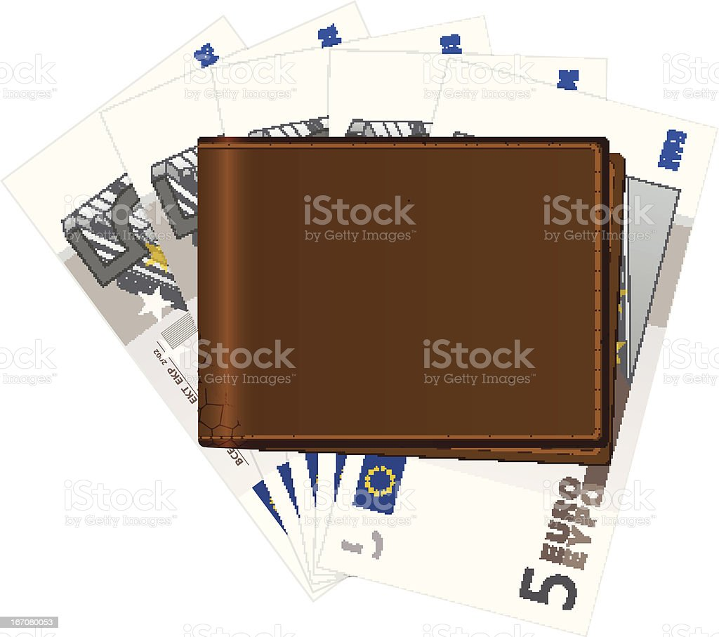 wallet with five euro banknotes royalty-free stock vector art