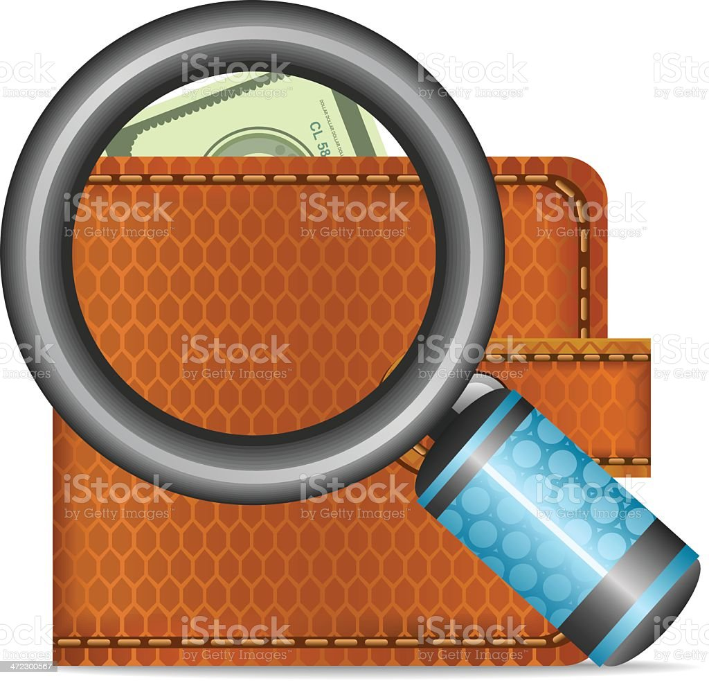 Wallet with magnifying glass royalty-free stock vector art