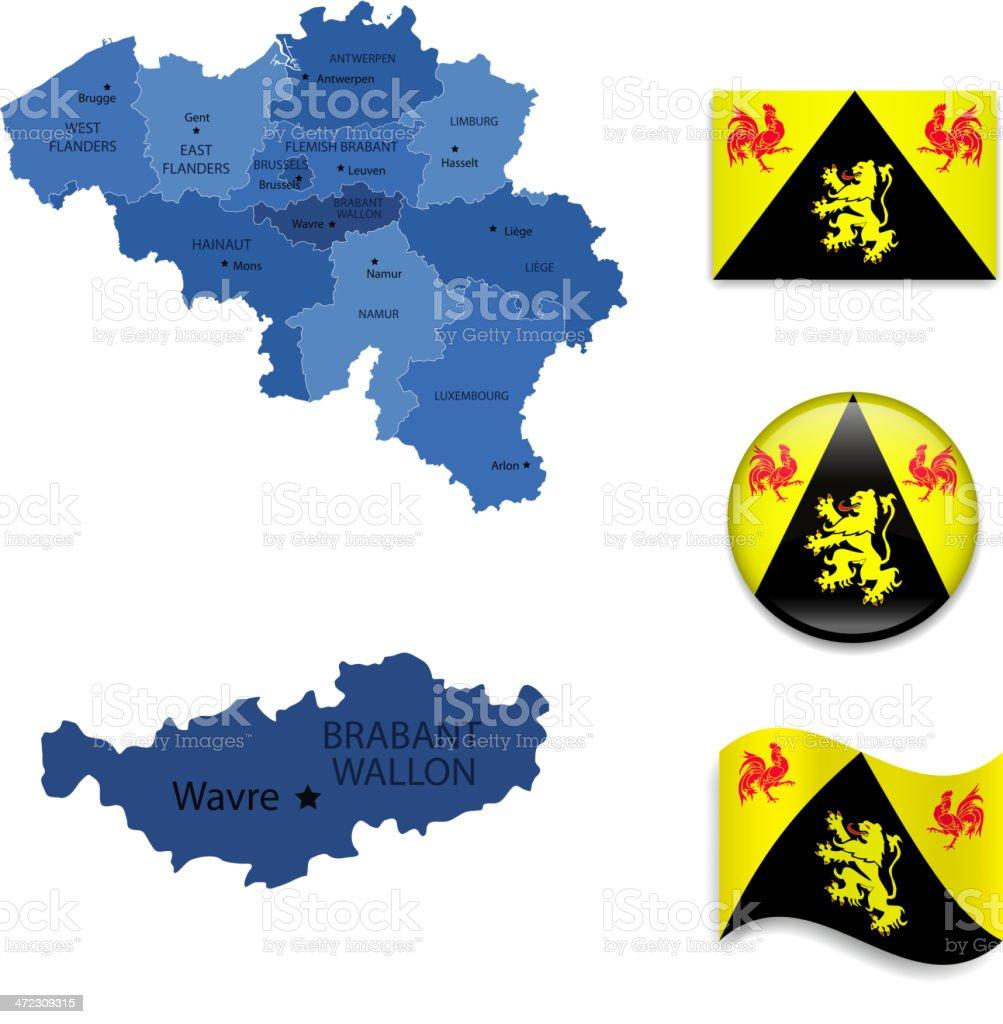 Walloon Brabant province set vector art illustration