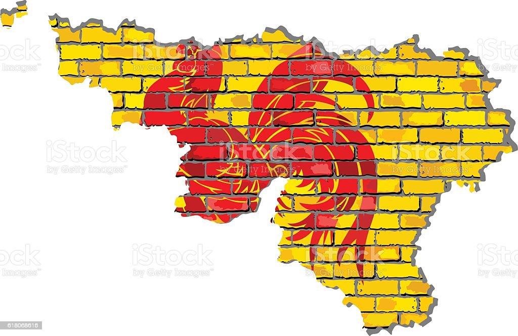 Walloon map on a brick wall vector art illustration