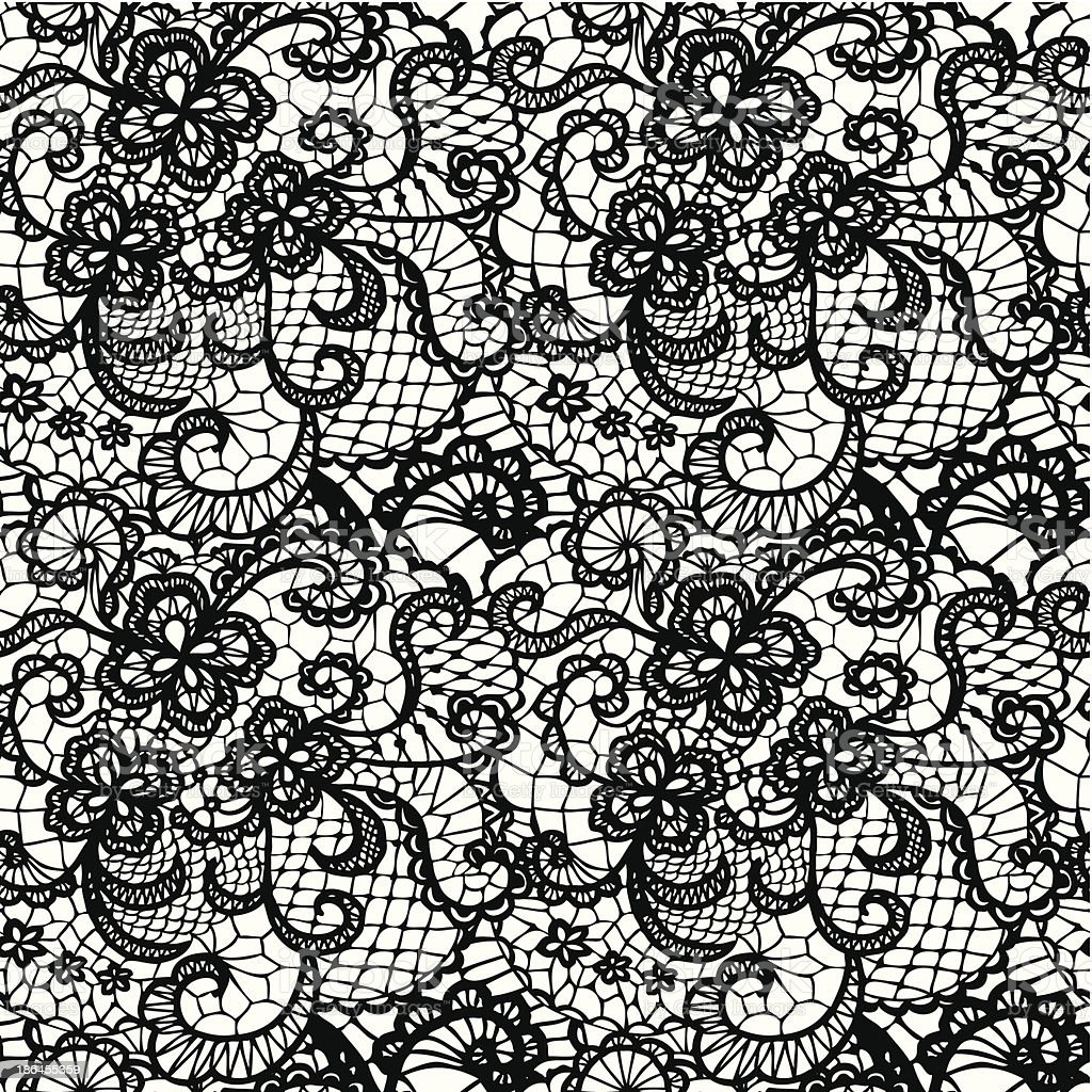 Wallpaper in a swirling lace pattern in black and white vector art illustration