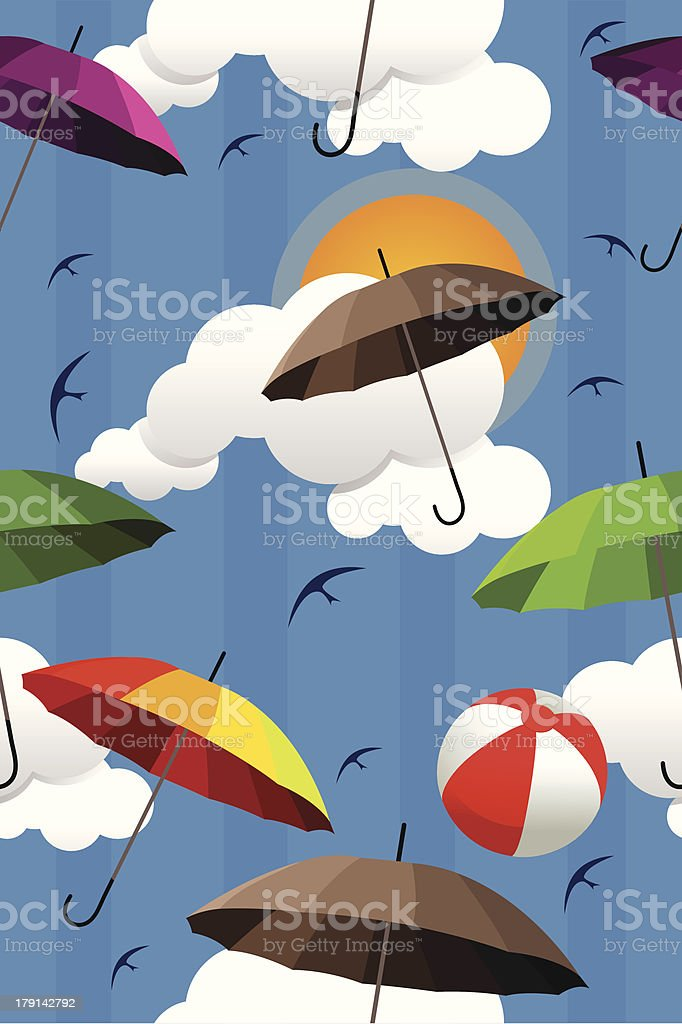 Wallpaper of colorful umbrellas royalty-free stock vector art