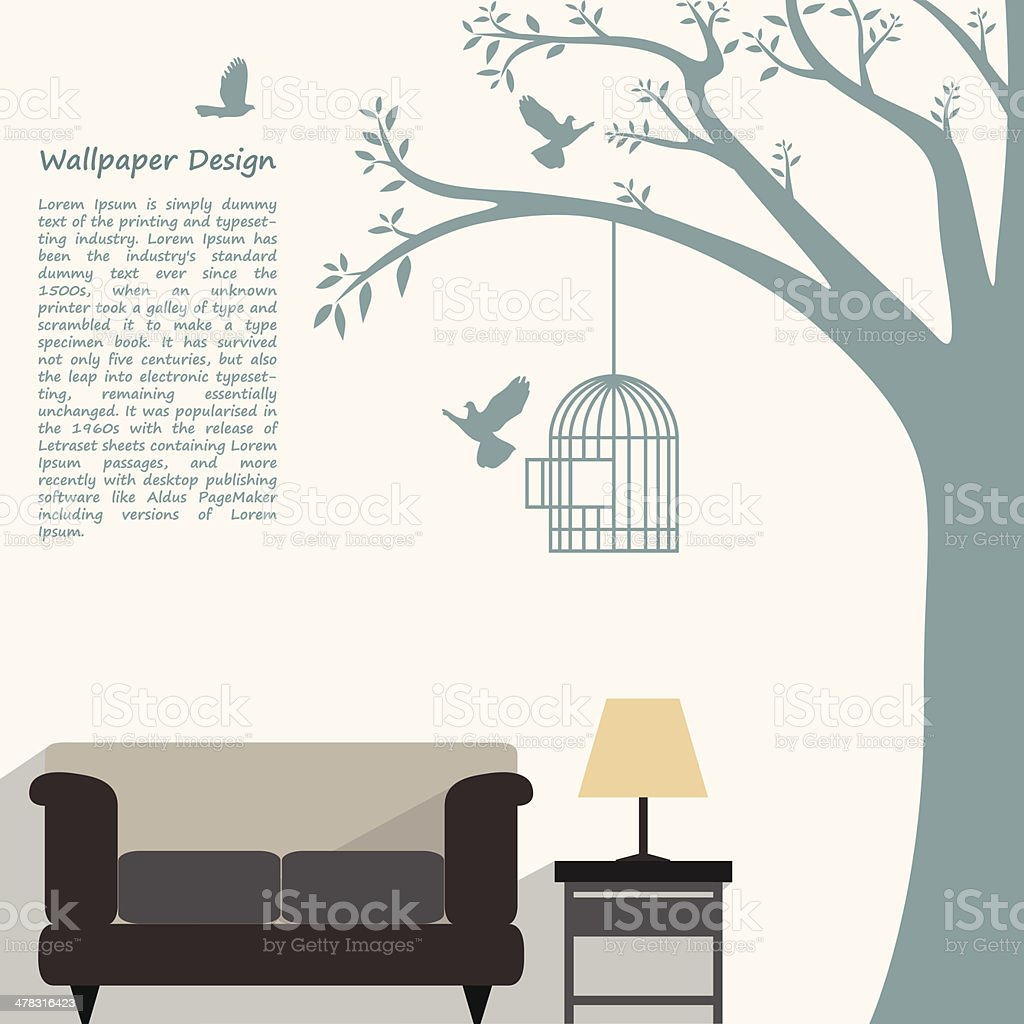 wallpaper pattern design of natural form for interior decorated vector art illustration