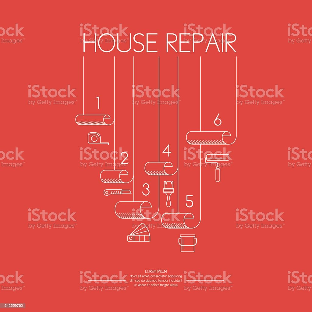 Wallpaper rolls and tools for House repair vector art illustration
