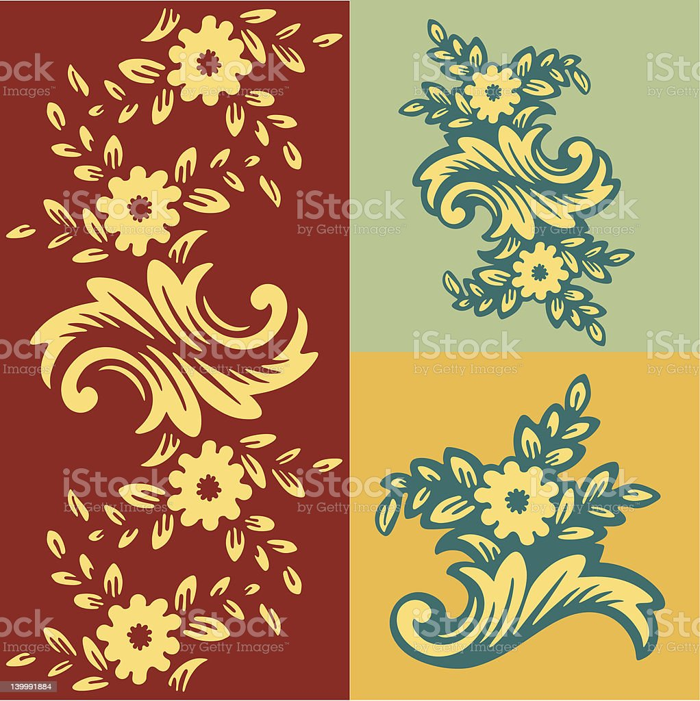 Wallpaper with a flower pattern. royalty-free stock vector art