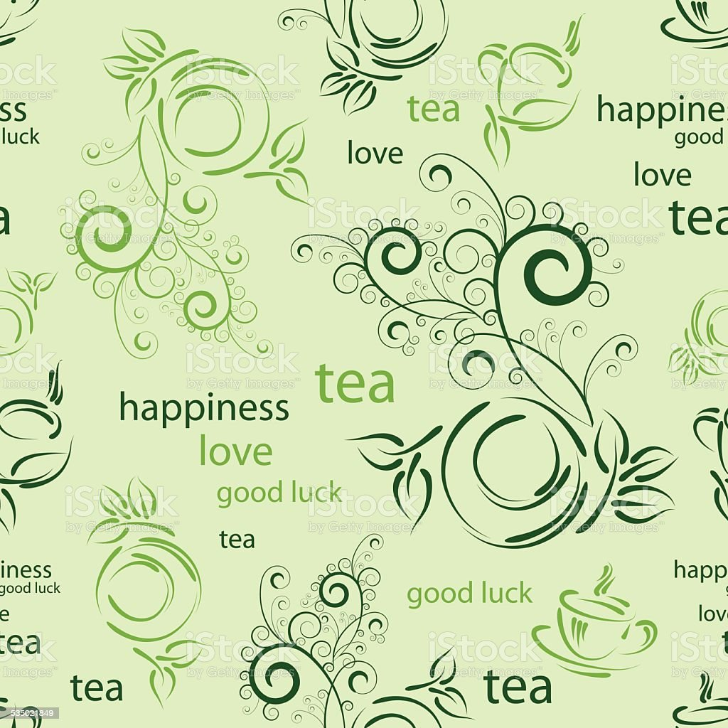 wallpaper with cup of tea vector art illustration