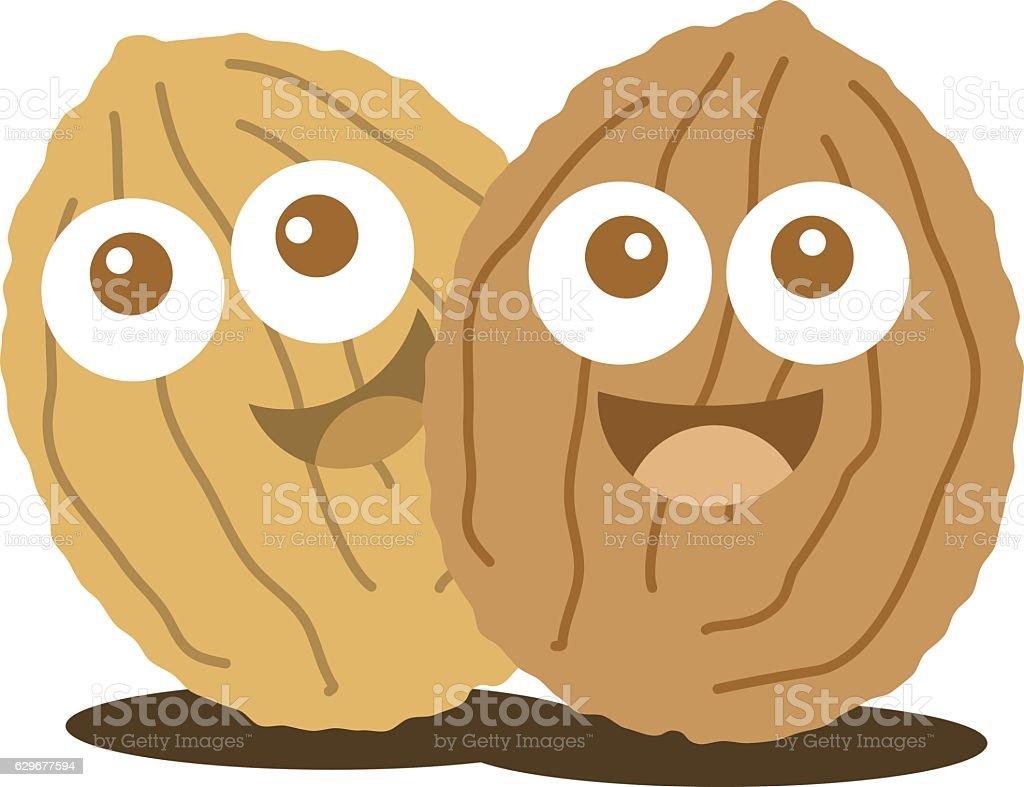 Walnut cute cartoon nut illustration vector art illustration