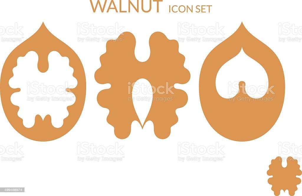 Walnut. Icon set vector art illustration
