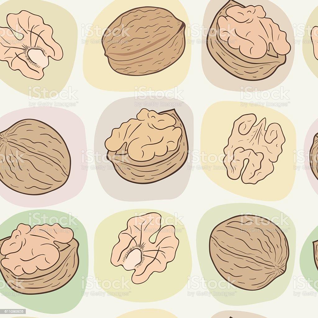 Walnuts seamless vector pattern vector art illustration