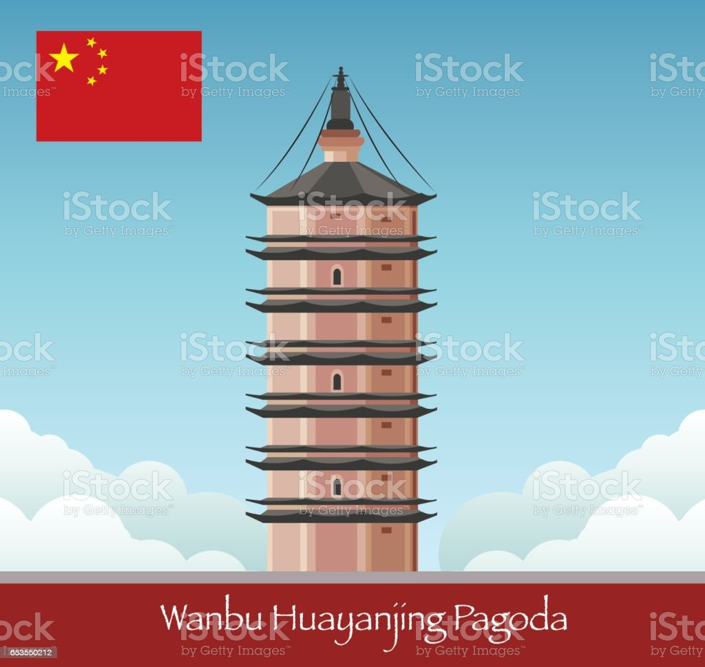 Wanbu Huayanjing Pagoda vector art illustration