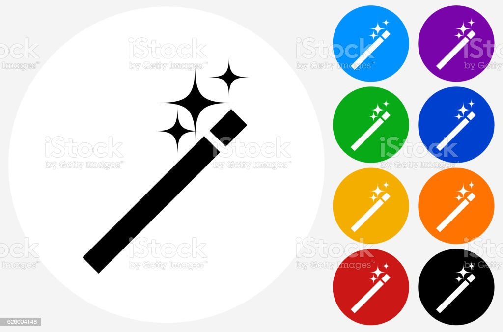 Wand Icon on Flat Color Circle Buttons vector art illustration