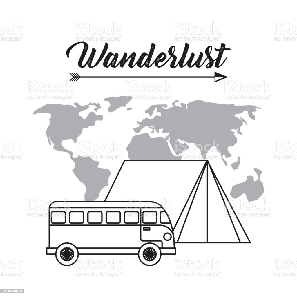 Wanderlust design with bus and world map icon black and white wanderlust design with bus and world map icon black and white gumiabroncs Choice Image