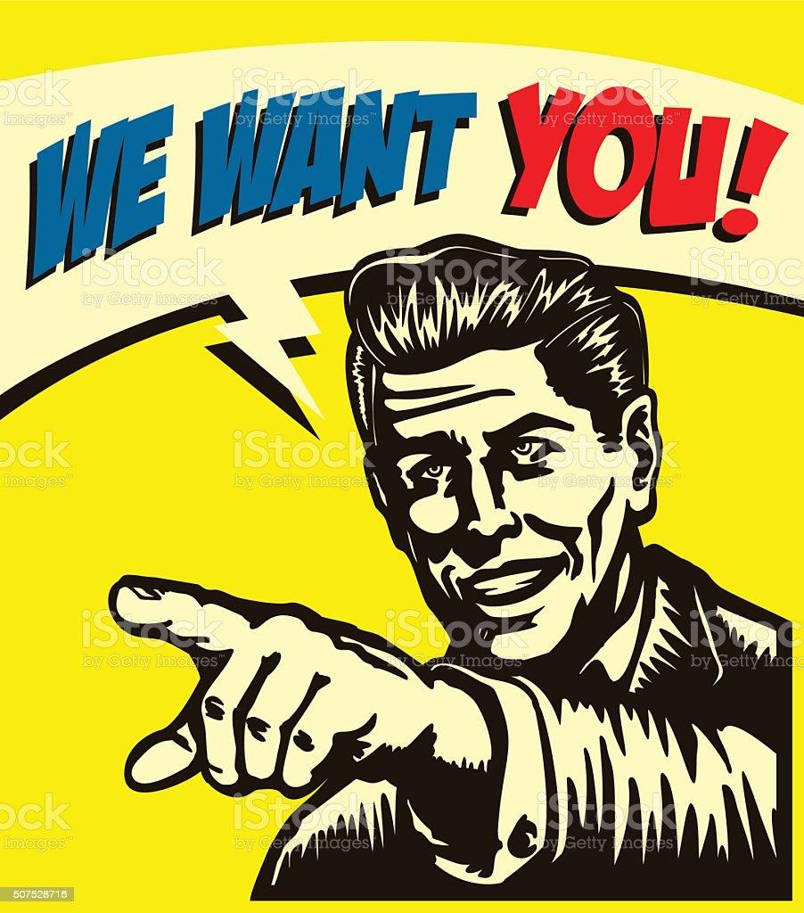 I want you! Vintage businessman with pointing finger vector illustration vector art illustration