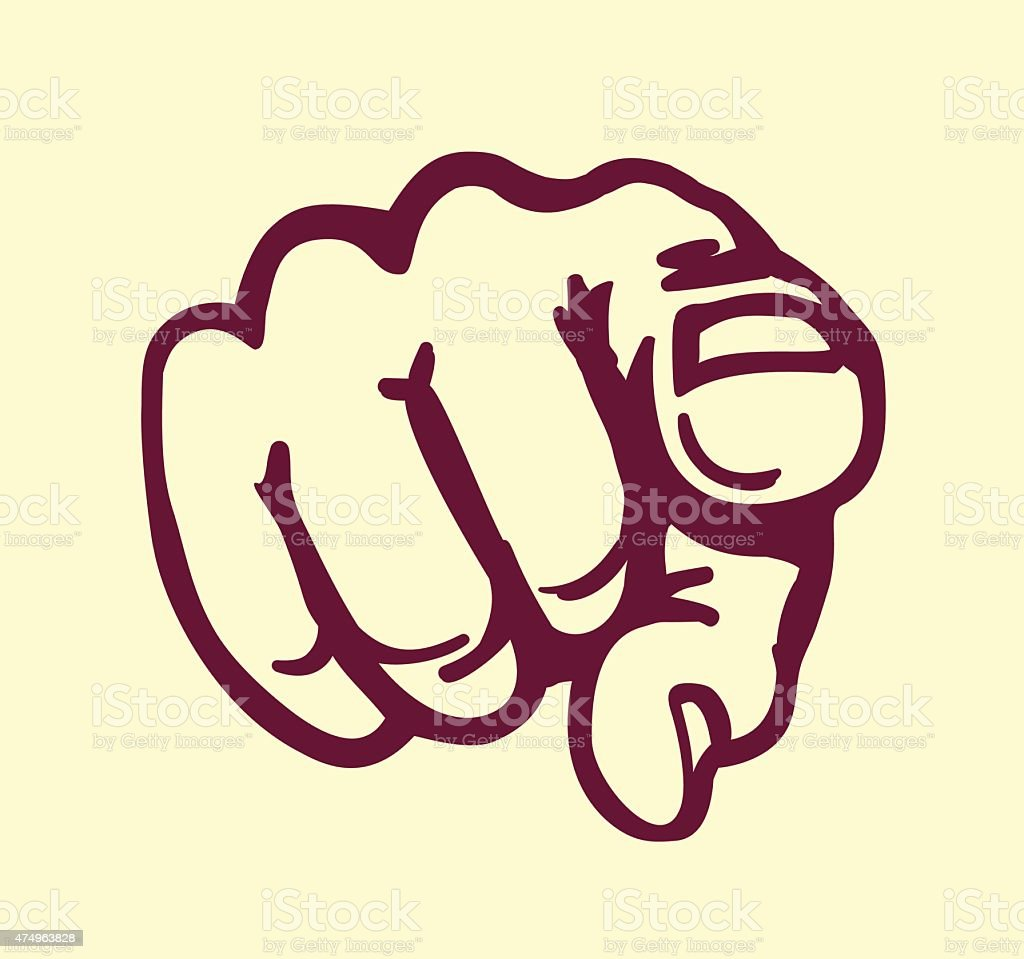 I want you! vintage pointing finger vector design element vector art illustration