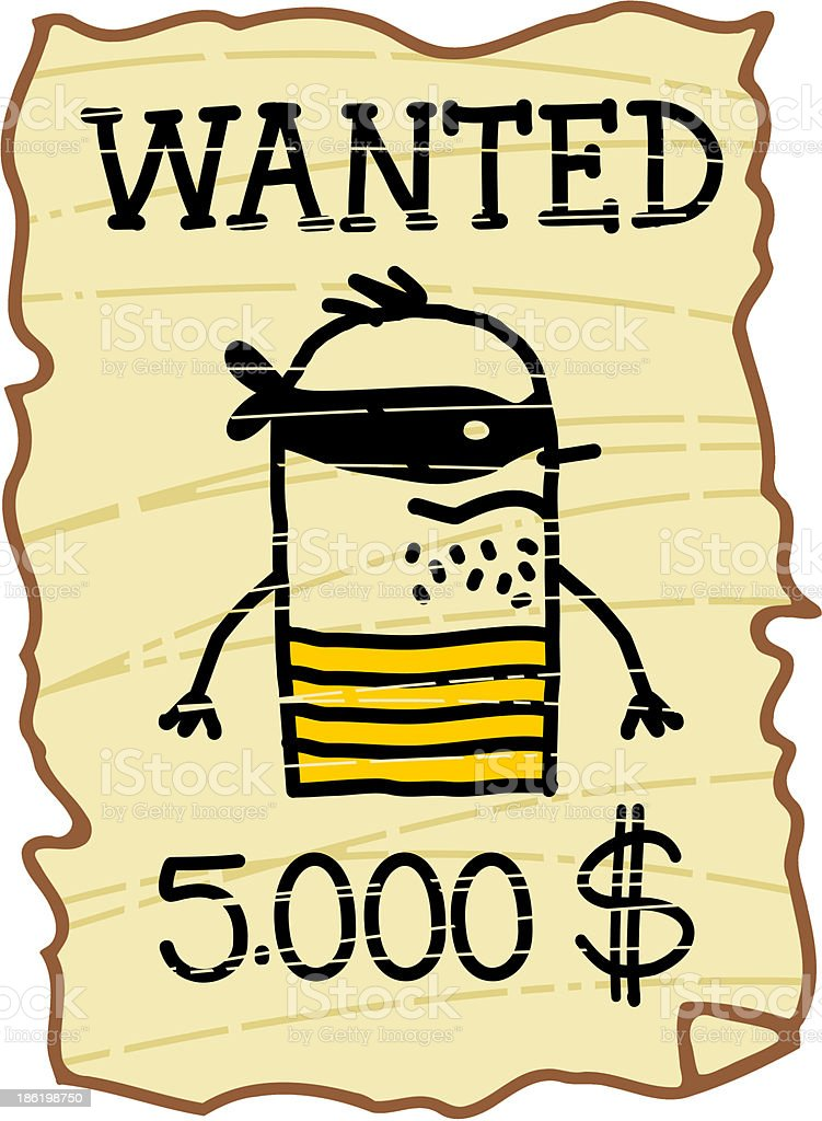wanted criminal & vintage notice royalty-free stock vector art