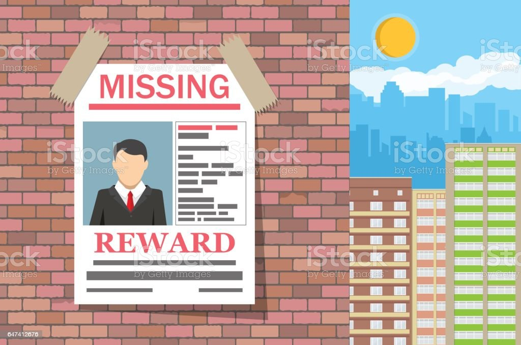 Wanted man paper poster. Missing announce vector art illustration