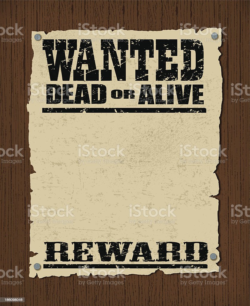 Wanted Poster - Dead or Alive, Reward Background royalty-free stock vector art