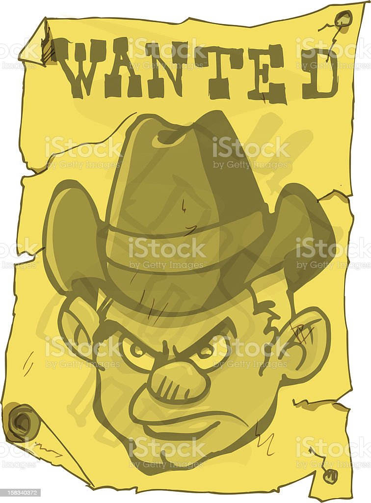 Wanted Poster from the old  cartoon west vector art illustration