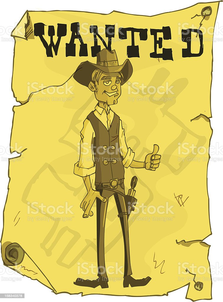 Wanted Poster from the old  cartoon west royalty-free stock vector art