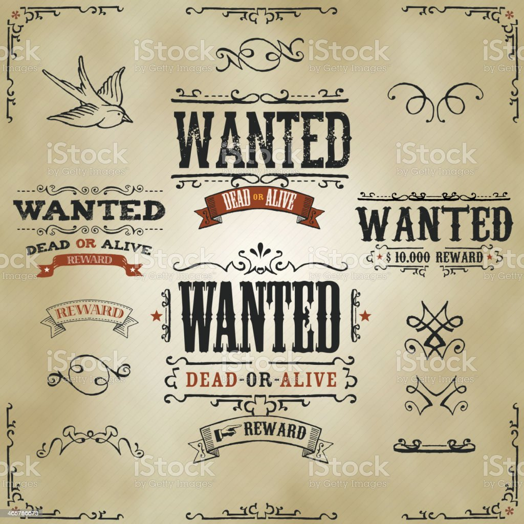 Wanted Vintage Western Banners vector art illustration