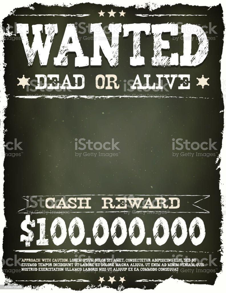 Wanted Vintage Western Poster On Chalkboard vector art illustration