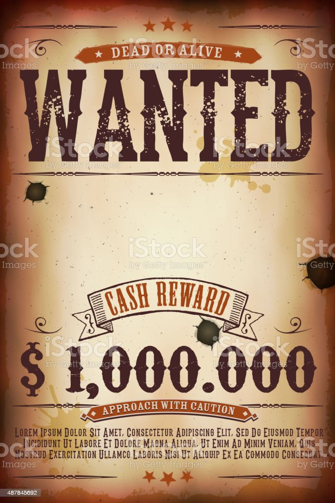 Wanted Vintage Western Poster vector art illustration