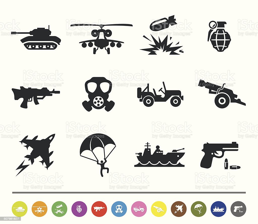 War and army icons | siprocon collection vector art illustration