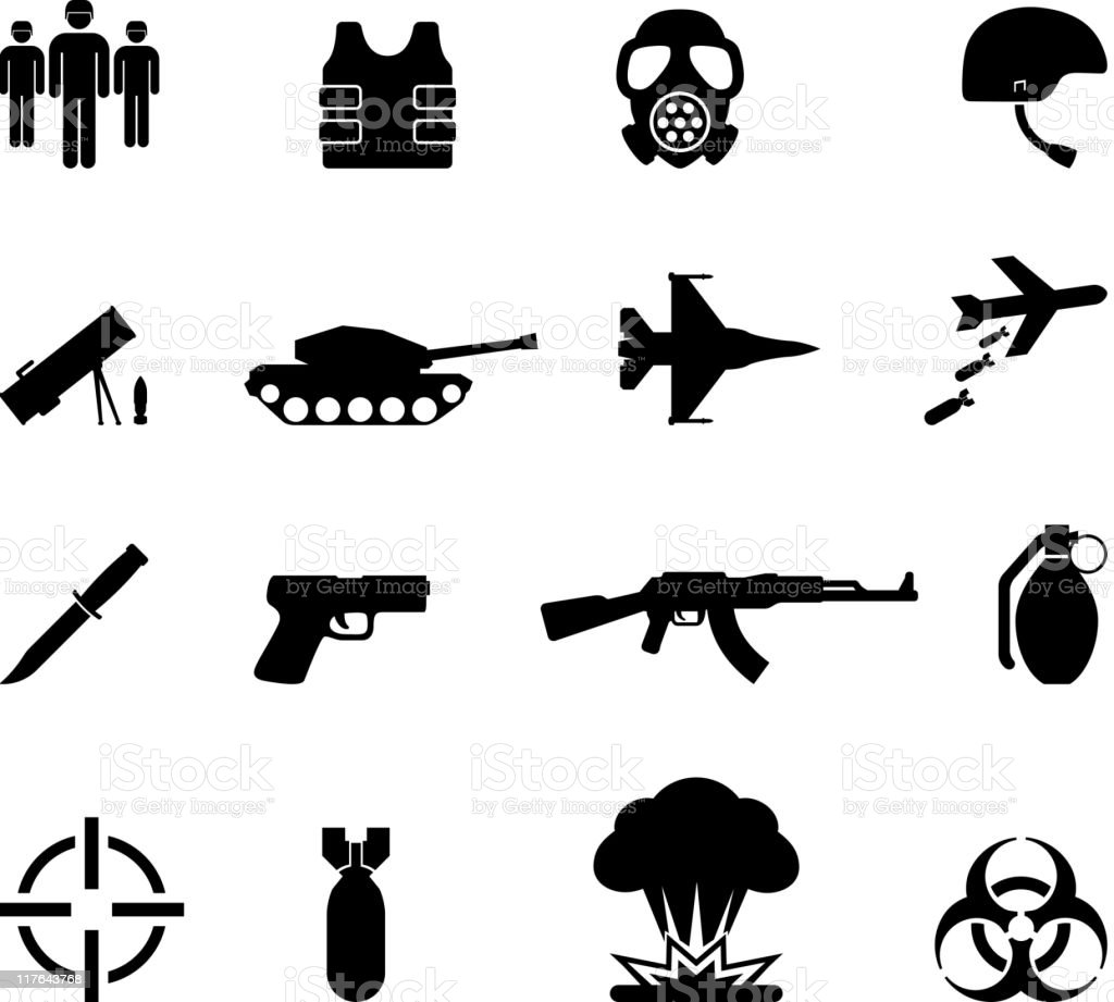 war black and white royalty free vector icon set vector art illustration
