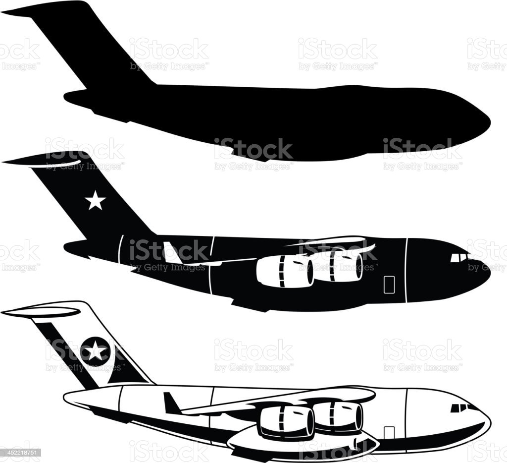 War Cargo Military Airplane vector art illustration