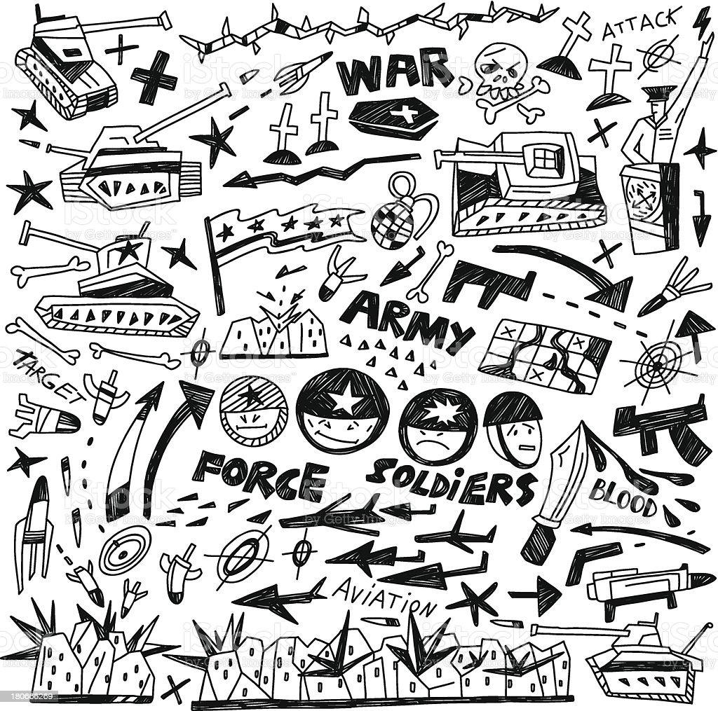 war - doodles collection royalty-free stock vector art