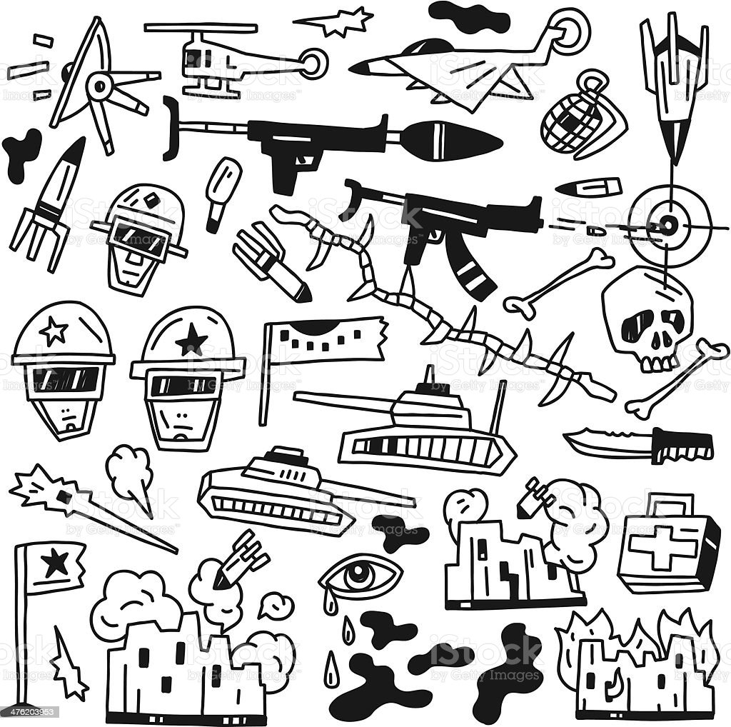 war doodles royalty-free stock vector art