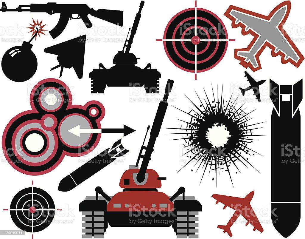War elements vector art illustration